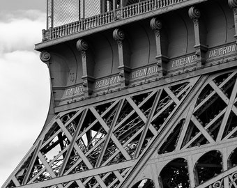 Eiffel Tower Detail, Paris, Eiffel Tower, Black and White, Architecture, Iron, France, Close Up - Travel Photography, Print, Wall Art