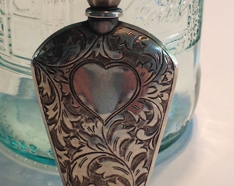 Tiny Perfume Bottle Antique Sterling Silver Ornate Hand Engraving Heart and Flowers Victorian