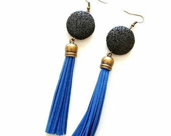 Bold statement earrings// statement tassel earrings//Blue tassel earrings// Bohemian shoulder dusters/Boho chic
