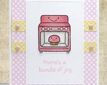 Bundle of Joy Baby Card- Bundle of Joy Card- Baby Card- Welcome Baby Girl