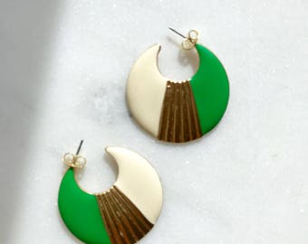 Vintage metal and acetate hoops / bright green and cream