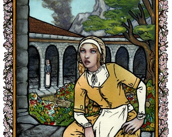 "Giclee print - blonde woman in monastery with smoke on the horizon - 11"" x 14"""