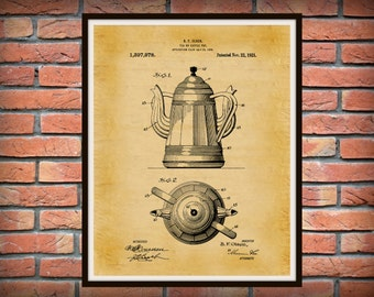 Patent 1921 Unique Coffee Pot Patent - Tea Pot Patent - Wall Art - 2 Handled Pot - Restaurant Wall Art - Coffee Shop Wall Art - Tea House