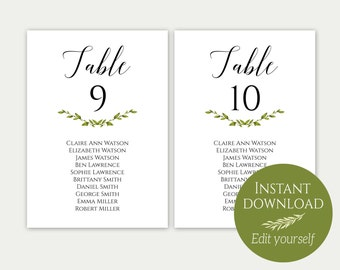 Wedding Seating Chart Template, Seating Cards, Seating Chart Sign, Seating Chart Template, Editable Seating Chart, PDF, Greenery, C8
