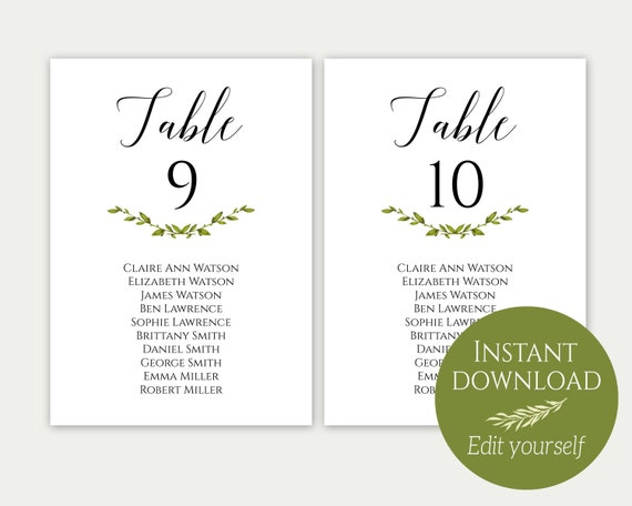 Wedding Seating Chart Template Seating Cards Seating Chart