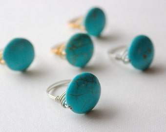 Large Turquoise Wire Wrapped Ring