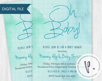 Watercolor Blue/Green/Aqua/Turquoise Baby Shower Invitations