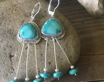 Turquoise fringe silverware earrings