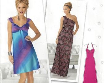 Maxi Dress Empire Waist Halter One Shoulder Prom Formal Side Zipper Studio Suede New Look 6173 Size 4 - 16 Uncut