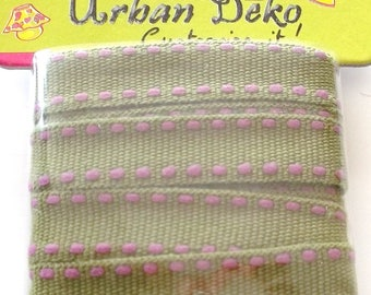 Two-tone woven Ribbon X2Metres colors FUCHSIA and green - width 10mm - REF. 53