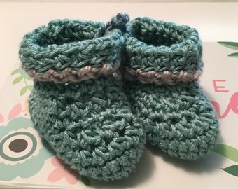 Baby Booties  /Infant /                  Baby booties : Turquoise with soft grey trim