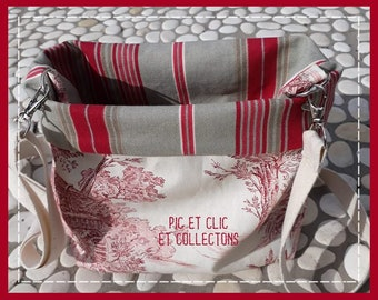 Messenger bag reversible with shoulder strap and Pocket closed French toile and stripes bayadères