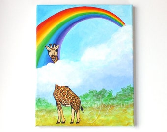 Rainbow Giraffe painting, Keep Looking Up, 11x14 inch original acrylic painting for home, office or childrens room, nursery painting