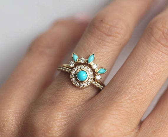 Brand-new Dreamcatcher Ring Set Turquoise Diamond Ring Set Unique CJ28