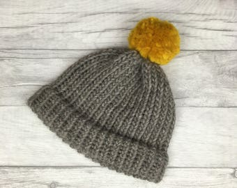 Grey and Mustard knitted hat, Shetland wool beanie, winter hat, knitted toque, baby hat, mothers day gift, wool beanie, mens hat, womens hat