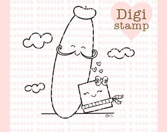 FrenchBread and Butter Digital Stamp - Love Stamp - Digital Love Stamp - Love Art -Valentine Card Supply - Valentine Craft Supply
