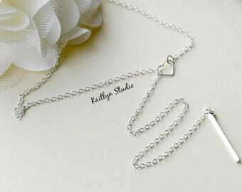 Bar Drop Necklace, Skinny Bar Lariat Necklace, Silver Y Necklace, Minimal Y Necklace, Long Boho Necklace, Sterling Silver, Long Lariat Chain