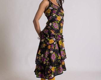 Maxi dress///Burlesque dress///Hippie Chic///Boho///Flower dress///long dress///Festival wear///Flamenco//FRASQUITA GITANE///MIMISAN