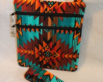 Handcrafted Crossbody bag Southwestern Native American Fabric themed w/Adj strap