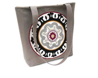 Boho Tote Bags, Grey Handbag, Womens Shoulder Bags, Bohemian Bags, Fashion Bags Grey Purse, Womens Travel Tote, Vegan Bags, Boho Style Bags