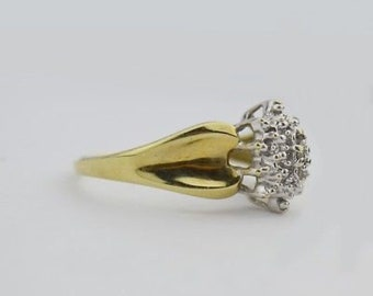 10k Yellow Gold Estate Cluster Ring Size 7