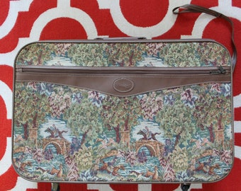 Vintage Hampshire Horse Woodland Tapestry Suitcase 1980s