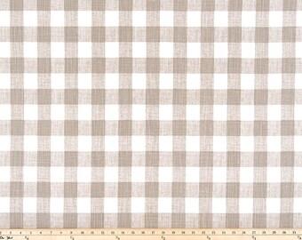 "Buffalo Plaid Ecru Slub Canvas Fabric by the yard Premier Prints  Fabric Yardage Home Decorator Fabric 54"" Wide Upholstery Fabric"