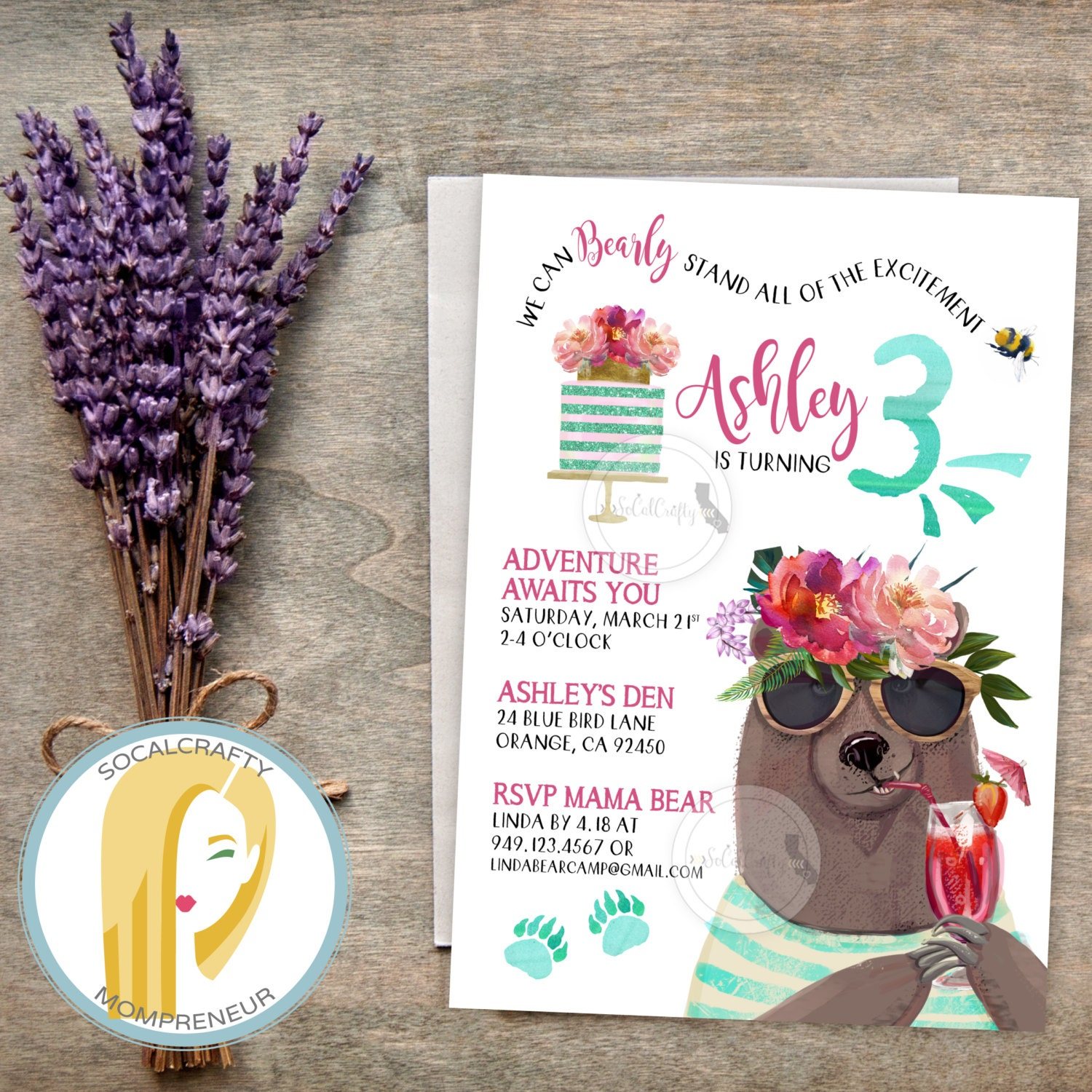 Bear Birthday Party Invitation Woodland Invite Watercolor