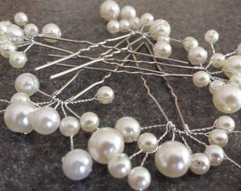 5pcs Bridal Hairpins Ivory Hairpins Wedding Hairpins Wedding Hair Accessories Pearl Hairpins Bridal Hair Pearl Hair Clips White Hairpins