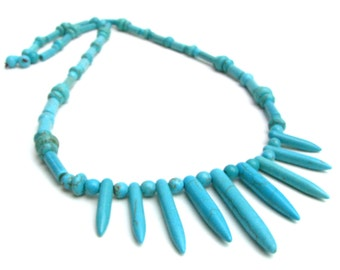 Long Unisex Turquoise Stone Spiked Necklace - Fun Bright Aqua Blue Statement Necklace, Great For Layering