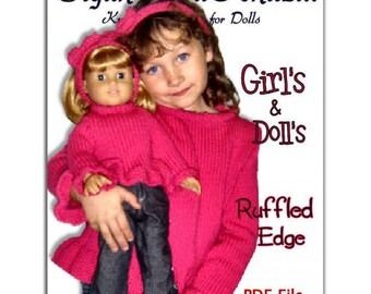 Knitting Patterns, matching, girls 4-10, American Girl and 18 inch dolls. PDF File
