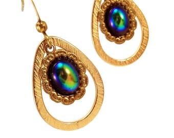Peacock glass drop earrings