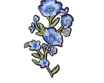 Wholesale bulk lot  40pcs Elegant blue   embroidered  flower  iron on  sewing on  patch  17.2x8..7cm