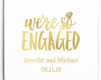 Set of 100 Square Wedding Coasters - We're So Engaged - Custom Coasters - Weddings - Wedding - Wedding Reception - Wedding Coasters
