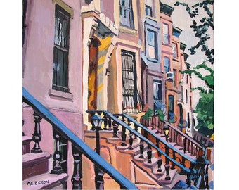 Brooklyn Painting, Architecture Print, Brooklyn Brownstones Square Art Print Brownstone Row Park Slope Cityscape Painting Gwen Meyerson