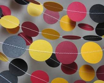 Paper Garland - yellow red black - party decoration - theme party - birthday garland - house colors - 1 inch circles