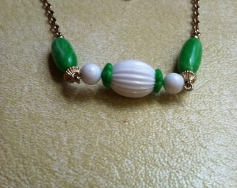 Retro green and white Avon necklace