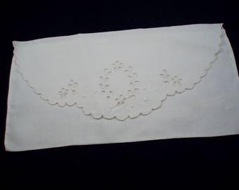 Vintage White Cotton Eyelet Hankie Envelope