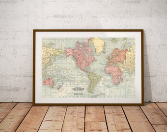 World map poster etsy world map world gumiabroncs Image collections