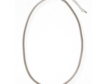 Antique Silver Tone Rope Necklace - 18 inches