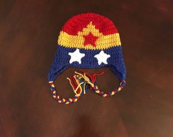 Crochet Wonder Woman Beanie, Handmade Hat, Photo Prop, Winter Hat, Birthday Gift