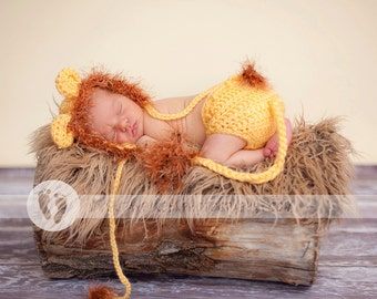 Baby Hat - Baby Boy Hat -  Baby Lion Hat & Diaper Cover Earflaps, Ties and  Fun Textured Mane