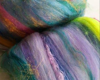 SALE buy 3 get 1 free hand-dyed merino wool alpaca silk bamboo firestar batt DAYDREAMER