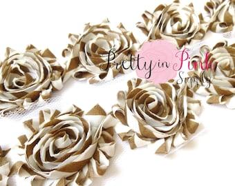 LIGHT BROWN WHITE Stripe Shabby Rose Trim- Shabby Flowers- 1/2 Yard or 1 Yard- Shabby Chiffon Trim- Wholesale Shabby Flowers-