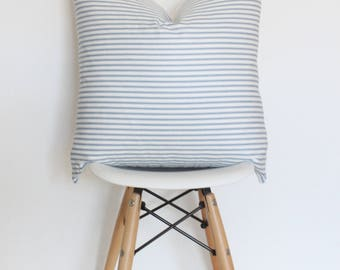 "18"" Blue and White Striped Pillow Cover"