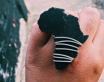 Black Wood Wrapped Africa Adjustable Ring