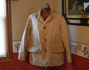 Tan Hunting Jacket,  Shooting Coat, 1910 Overcoat Vintage Sport Wear, #330