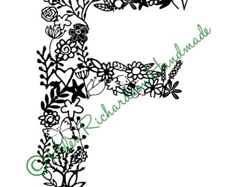 Floral Alphabet letter 'F' paper cutting template for PERSONAL USE