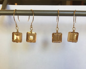 Honey Square Crystal Earrings