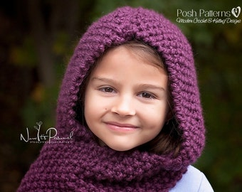 Knitting Pattern - Knit Hooded Cowl - Knitting Patterns - Knitting Pattern Hat - Hooded Scarf - Toddler, Child, Adult Sizes - PDF 128